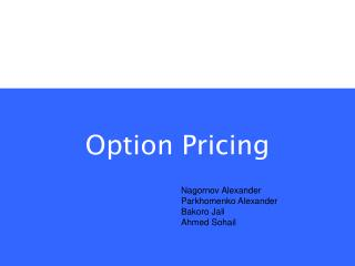 Option Pricing