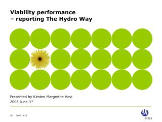 Viability performance  – reporting The Hydro Way