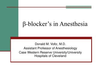 β -b locker's in Anesthesia