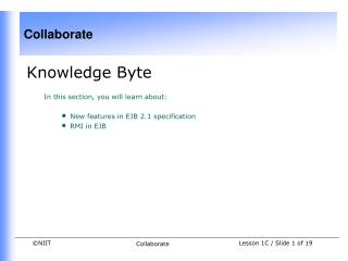 Knowledge Byte In this section, you will learn about:  New features in EJB 2.1 specification