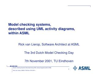 Model checking systems, described using UML activity diagrams, within ASML
