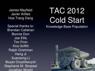 TAC 2012 Cold Start Knowledge Base Population