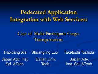 Federated Application Integration with Web Services: