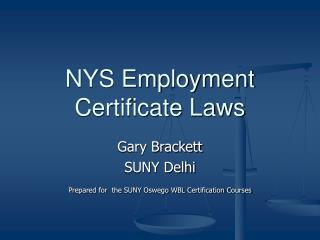NYS Employment Certificate Laws