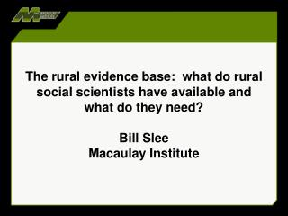 What do we mean by the evidence base?
