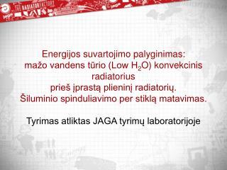 J AGA tyrimų laboratorija