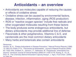 Antioxidants � an overview