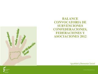 BALANCE CONVOCATORIA DE SUBVENCIONES CONFEDERACIONES, FEDERACIONES Y ASOCIACIONES 2012