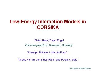 Low-Energy Interaction Models in CORSIKA