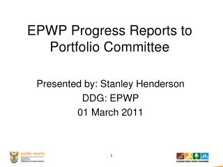 EPWP Progress Reports to Portfolio Committee