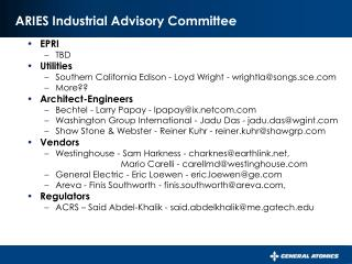 ARIES Industrial Advisory Committee