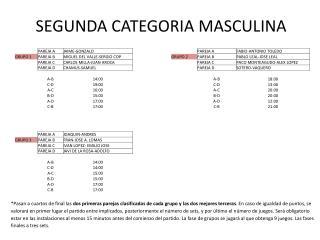 SEGUNDA CATEGORIA MASCULINA