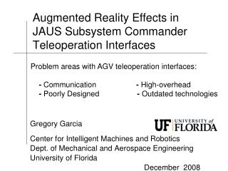 Augmented Reality Effects in JAUS Subsystem Commander Teleoperation Interfaces