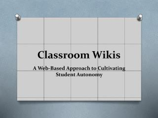 Classroom Wikis