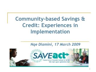 Community-based Savings & Credit: Experiences in Implementation