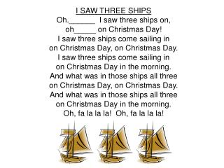 I SAW THREE SHIPS Oh.______  I saw three ships on,  oh_____ on Christmas Day!