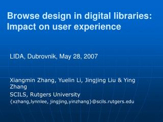 Browse design in digital libraries: Impact on user experience