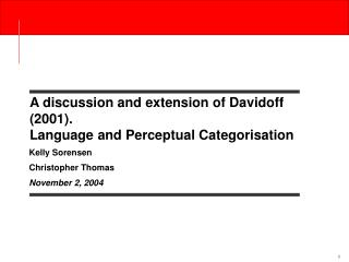 A discussion and extension of Davidoff 2001.  Language and Perceptual Categorisation