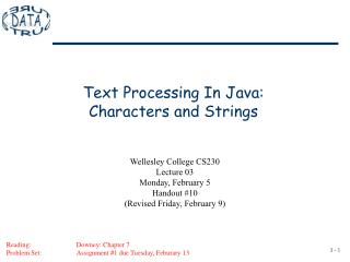 Text Processing In Java: Characters and Strings