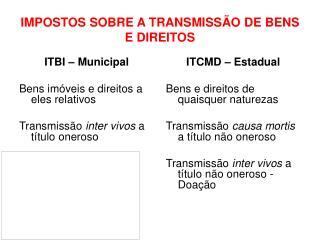 IMPOSTOS SOBRE A TRANSMISSÃO DE BENS E DIREITOS