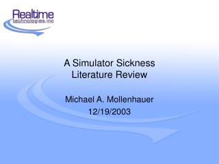 A Simulator Sickness  Literature Review