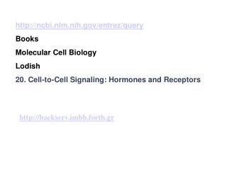 ncbi.nlm.nih/entrez/query Books Molecular Cell Biology  Lodish