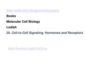 ncbi.nlm.nih/entrez/query Books Molecular Cell Biology  Lodish