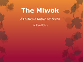 The Miwok A California Native American  by Jada  Bailys