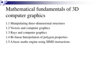 Mathematical fundamentals of 3D computer graphics