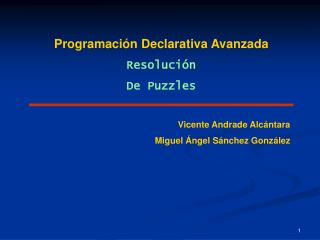 Programación Declarativa Avanzada Resolución De Puzzles