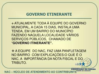GOVERNO ETINERANTE