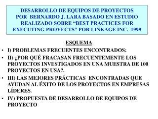 ESQUEMA I) PROBLEMAS FRECUENTES ENCONTRADOS:
