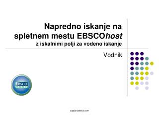 Napredno iskanje na spletnem mestu EBSCO host  z iskalnimi polji za vodeno iskanje