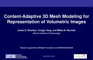 Content-Adaptive 3D Mesh Modeling for Representation of Volumetric Images