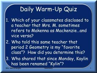 Daily Warm-Up Quiz
