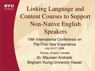 Linking Language and Content Courses to Support Non-Native ...