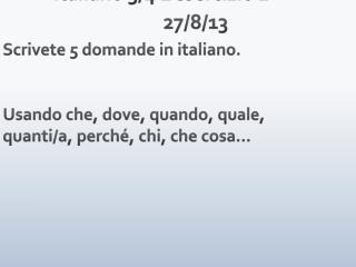 Italiano  3/4  L�esercizio  1 27/8/13