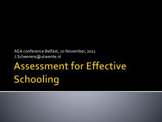 Assessment for Effective Schooling