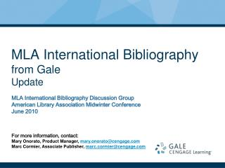 MLA International Bibliography from Gale Update