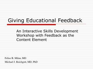 Giving Educational Feedback
