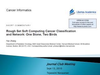 Journal Club Meeting  Sept 13, 2010 Tejaswini Narayanan