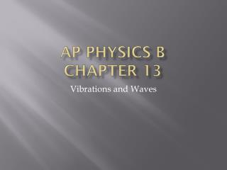 AP Physics B Chapter  13