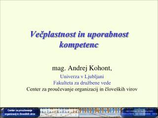 Večplastnost in uporabnost kompetenc