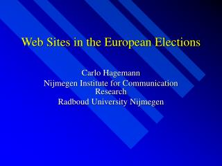Web Sites in the European Elections