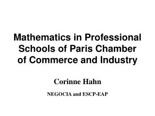 Mathematics in Professional Schools of Paris Chamber of Commerce  and Industry