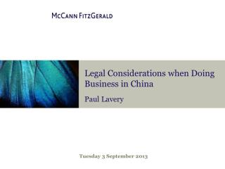 Legal Considerations when Doing Business in China