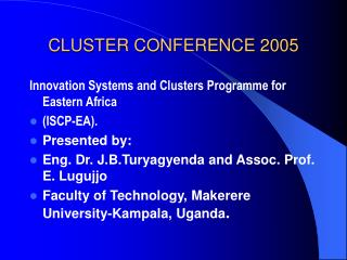 CLUSTER CONFERENCE 2005