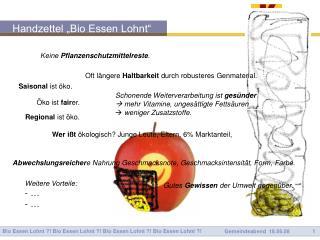 """Handzettel """"Bio Essen Lohnt"""""""