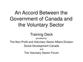 An Accord Between the Government of Canada and the Voluntary Sector