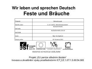 Wir leben und sprechen Deutsch  Feste und Bräuche